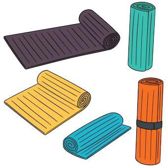 Vector set van yoga mat