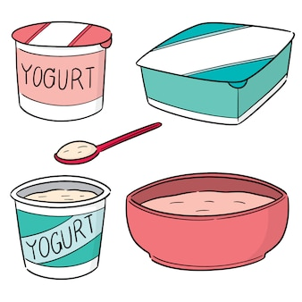 Vector set van yoghurt
