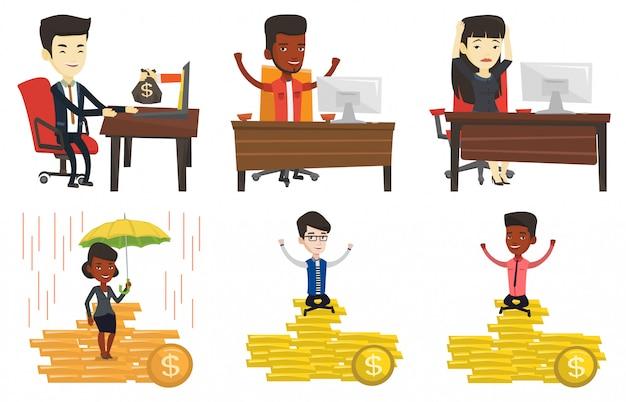 Vector set van zakelijke karakters.