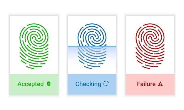 Vector set vingerafdruk identificatie autorisatie systeem iconen. sci-fi-technologieën van de toekomst. biometrische autorisatie en bedrijfsbeveiligingsconcept.