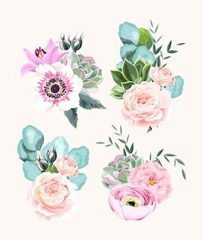 Vector set vintage hoog gedetailleerde boeketten van bloemen, vetplanten en eucalyptus