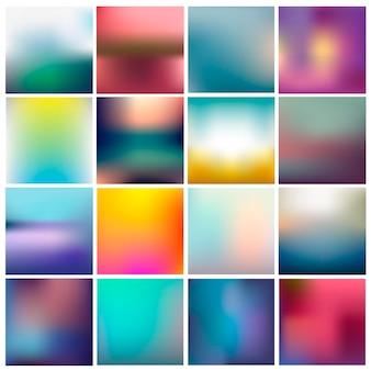 Vector set wazig abstracte achtergronden. kleurrijke collectie