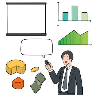 Vector set zakenman en zakelijke pictogram