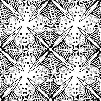 Vector sierachtergrond met krabbel grafische bloemen. zwart en wit etnische naadloze patroon voor stof, onmiddellijke verpakking