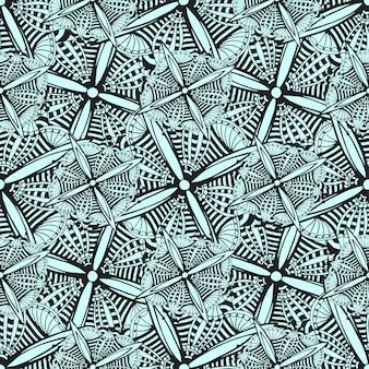 Vector sierachtergrond met krabbel grafische bloemen. zwart en wit etnische naadloze patroon voor textiel, textiel