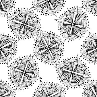 Vector sierachtergrond met zentangle bloemen. zwart en wit doodle etnische naadloze patroon voor textiel, textiel, onmiddellijke verpakking.