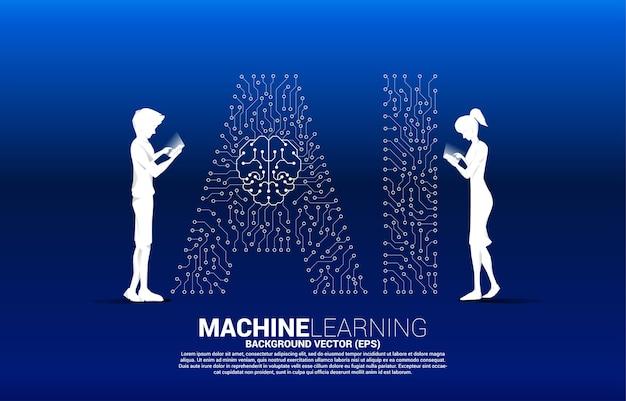 Vector silhouet man en vrouw gebruiken mobiele telefoon en achtergrond stip verbinden lijnvormige ai en cpu-centrum. concept voor machine learning en kunstmatige intelligentie.