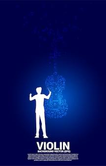 Vector silhouet van dirigent hand met muziek melodie dansende stroom vorm viool pictogram. conceptenachtergrond voor lied en concertthema.