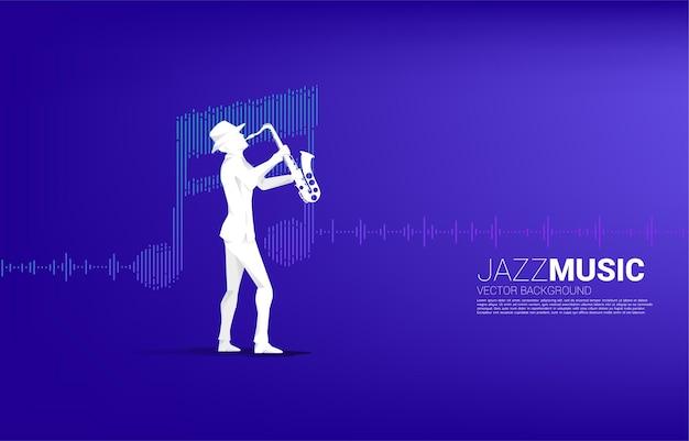 Vector silhouet van saxofonist met muziek notitiepictogram geluidsgolf equalizer achtergrond. conceptenachtergrond voor jazzlied en concertthema.