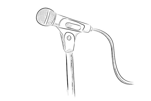 Vector simple, hand tekenen schets bedrade microfoon op stand, geïsoleerd op wit