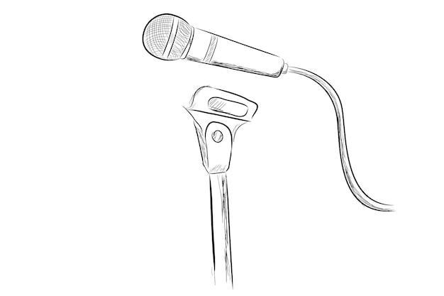Vector simple, hand tekenen schets draadloze microfoon op stand, geïsoleerd op wit