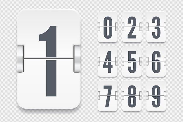 Vector sjabloon met lichte flip scorebord nummers met schaduwen voor witte countdown timer of kalender geïsoleerd op transparante achtergrond.