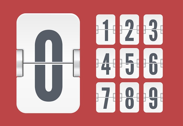Vector sjabloon met lichte flip scorebord nummers voor witte countdown timer of kalender geïsoleerd op rode achtergrond.