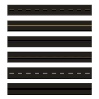 Vector sjabloon set rechte asfaltwegen. naadloze weg element set. horizontale rechte naadloze wegen. moderne asfalt repetitieve snelwegen.