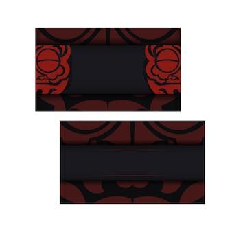 Vector sjabloon voor afdrukontwerp briefkaart zwarte kleuren met gezicht chinese draak ornament.