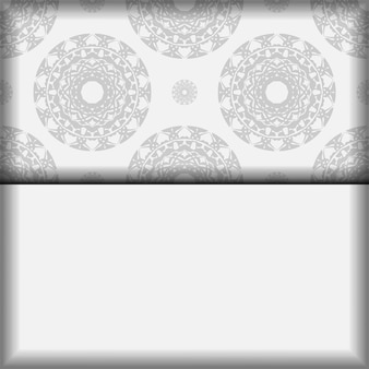 Vector sjabloon voor postkaarten afdrukontwerp witte kleuren met zwarte mandala patronen. een uitnodiging voorbereiden met een plaats voor uw tekst en grieks ornament.
