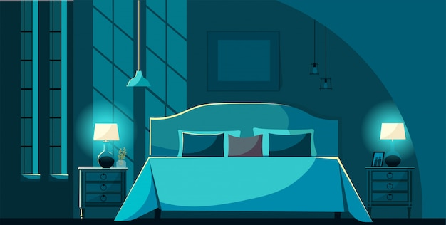 Vector slaapkamer interieur 's nachts met meubels, bed met veel kussens in maanlicht. slaapkamer interieur nachtkastjes, verlichting lampen en ramen. platte cartoon stijl vectorillustratie.