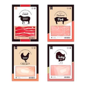 Vector slagerij etiketten met boerderij dieren silhouetten. koe, kip, varken, lam, kalkoen en eend pictogrammen en vleestexturen voor boodschappen, vleeswinkels, verpakkingen en reclame