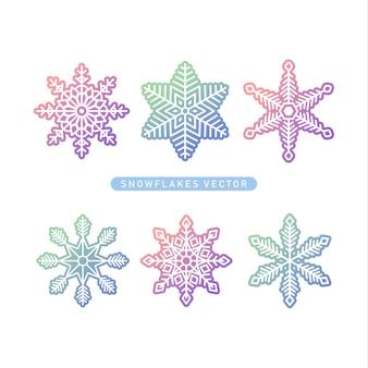 Vector sneeuwvlokken kleurovergang icoon collectie