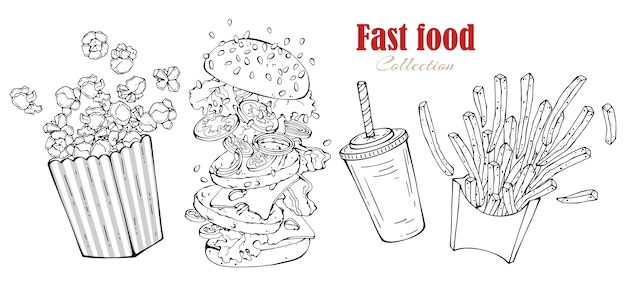 Vector snel voedsel: hamburger, frieten, popcorn, drank.