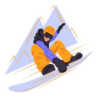 Vector snowboarder in de schaduw van scherpe lijnen stijl