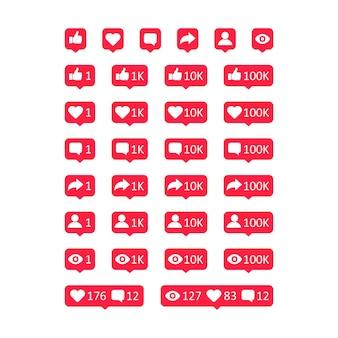 Vector sociale media activiteiten pictogrammen instellen. duim omhoog, zoals, commentaar, delen, volgers, weergavetekensymbool. vectorillustratie eps 10