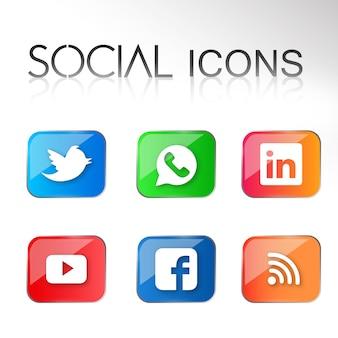 Vector sociale pictogrammen grafische ontwerpen