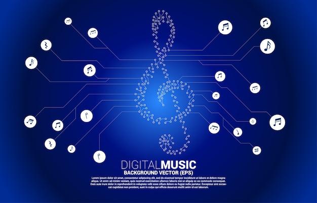 Vector sol muziek key note van dot connect lijn printplaat stijl. concept achtergrond voor lied en concert thema.