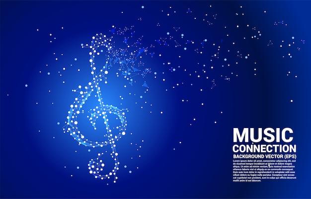 Vector sol muziek key note van dot connect line. concept achtergrond voor lied en concert thema.