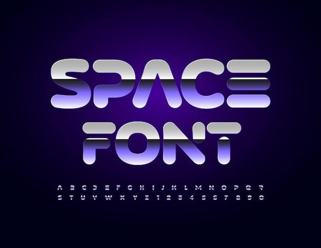 Vector space lettertype zilveren reflecterende alfabetletters en cijfers