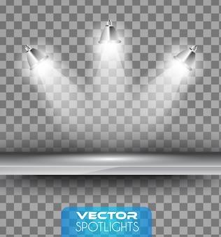 Vector spotlights-scène met verschillende lichtbronnen die naar de vloer of plank wijzen.