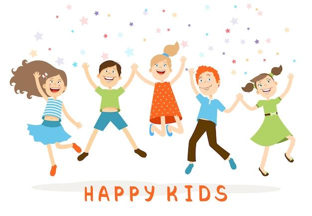 Vector springende kinderen. grappige kinderen