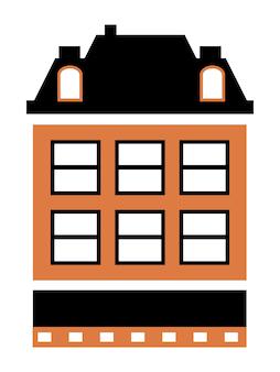 Vector stad gebouw appartement residentiële egale kleur enkele woningbouw voor ontwerp en decoratie van stock illustratie op een witte achtergrond