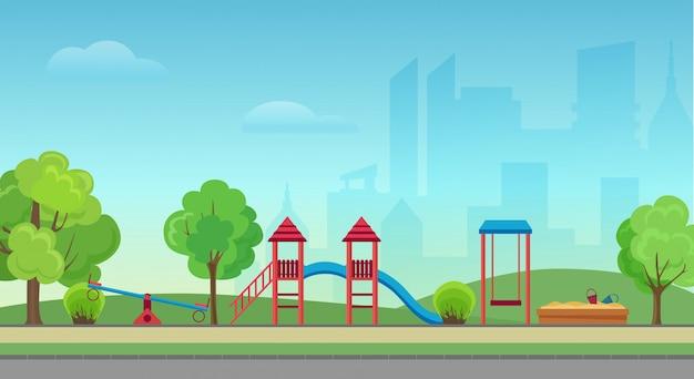 Vector stadspark met kinderspeelplaats op de achtergrond van de moderne stad wolkenkrabbers. groen park in het stadscentrum.
