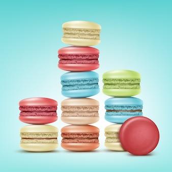 Vector stapels kleurrijke roze, groen, beige, blauw macarons geïsoleerd op de achtergrond