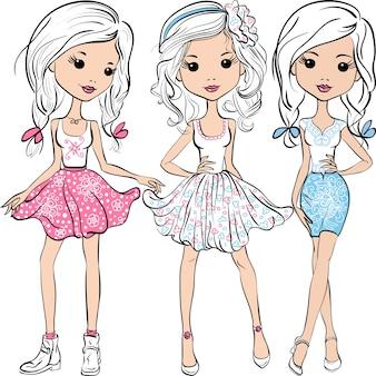 Vector stel schattige lachende mode meisjes in roze, witte en blauwe rokken en shirts