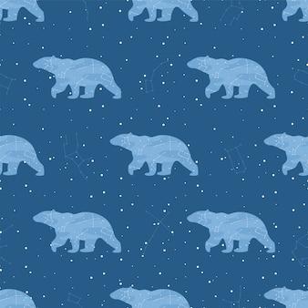 Vector sterren en beren in het naadloze patroon van de nachtelijke hemel.