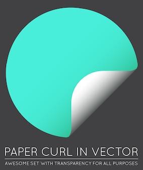 Vector sticker met papieren krul met geïsoleerde schaduw.