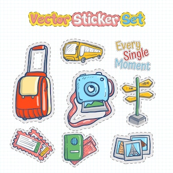 Vector sticker patches set