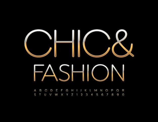 Vector stijlvol logo chique en mode gouden alfabetletters en cijfers instellen elegante metalen lettertype