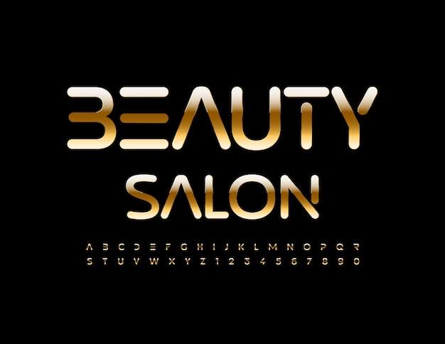 Vector stijlvolle teken schoonheidssalon chique premium lettertype gouden alfabetletters en cijfers set