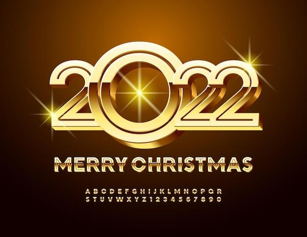 Vector stijlvolle wenskaart merry christmas 2022 gouden creatieve alfabetletters en cijfers