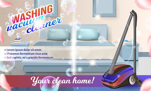 Vector stofzuiger op achtergrond bed in de slaapkamer