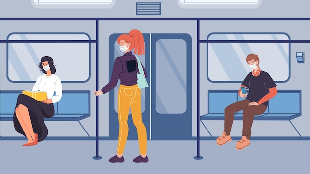 Vector stripfiguren in de metro, leven tijdens de pandemische quarantaine van het coronavirus.