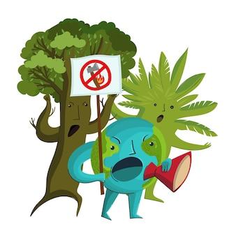 Vector stripfiguren van de planeet aarde en bomen die protesteren tegen de ontbossing en vernietiging van bossen.