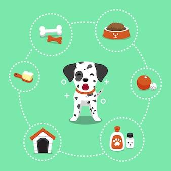 Vector stripfiguur dalmatische hond en accessoires