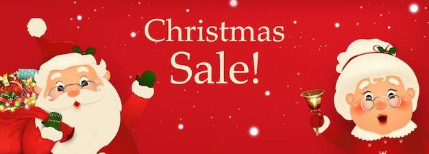 Vector stripfiguur van happy santa claus en zijn vrouw met bord. kerst reclame-ontwerp. kerst verkoop seizoen ontwerpsjabloon voor banners, headers, posters voor nieuwjaarsbevordering.