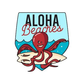 Vector t-shirtontwerp van lachende octopus met surfplank in blauwe zee en inscriptie aloha beaches