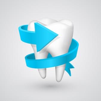 Vector tand spiraal pijl. vector illustratie kunst 10eps