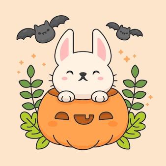 Vector teken van schattige konijn in een pompoen met bladeren en vleermuizen
